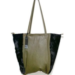 LATICO GENUINE LEATHER AND FUR MOSS GREEN TOTE